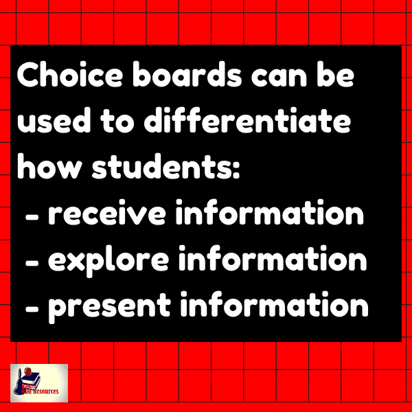 Differentiated instructional strategies - choice boards