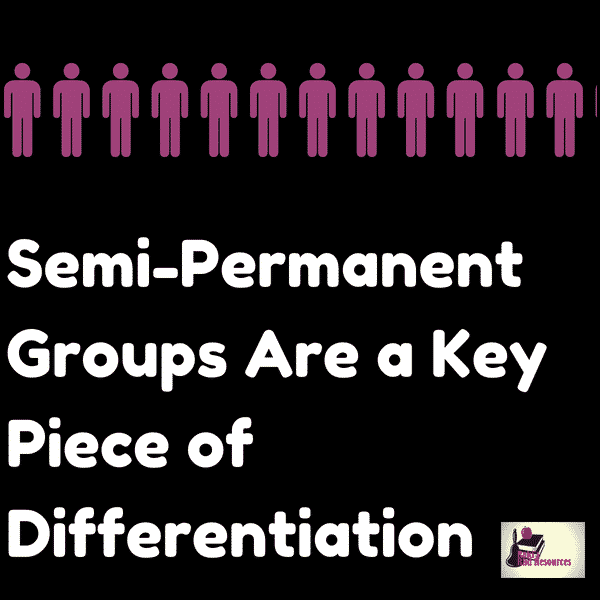 Differentiated instructional strategies - semi permanent groupings