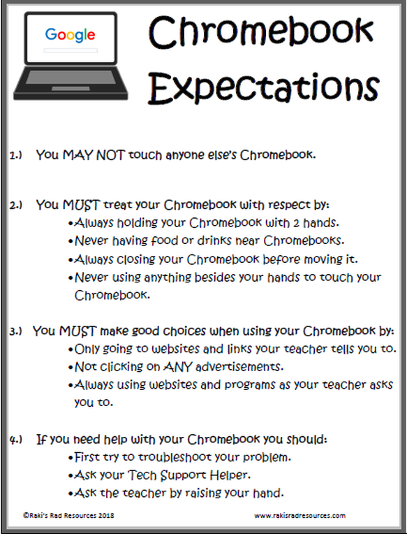 Free Poster for Chromebooks in the Classroom Expectations