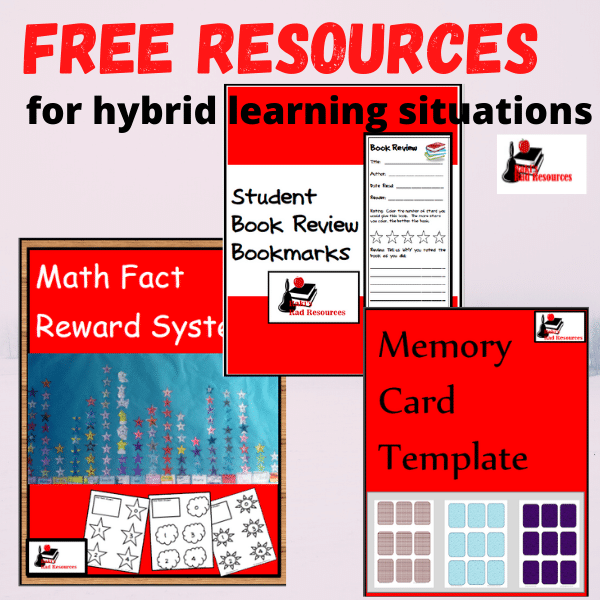 Free resources from Raki's Rad Resources - math fact reward system, book review bookmarks, memory cards template