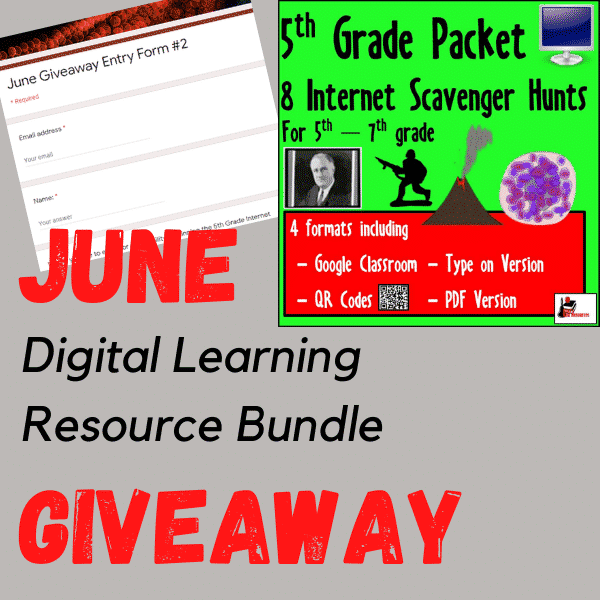 June digital learning resources giveaway - enter to win a 5th grade internet scavenger hunts from Raki's Rad Resources