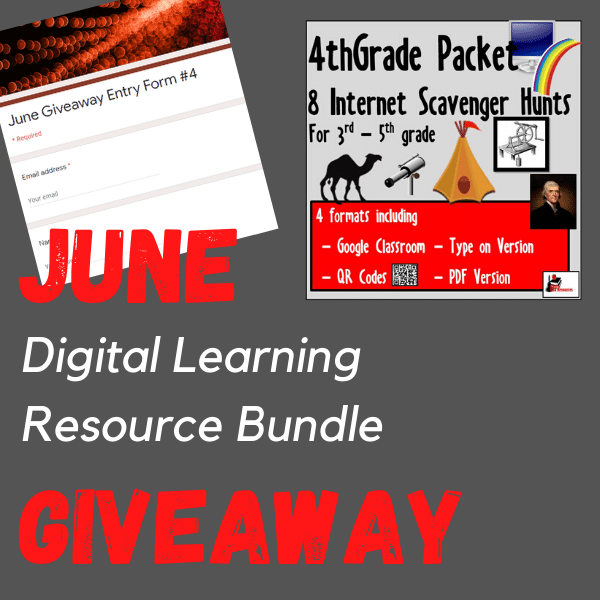 June 2020 Teacher resources giveaway - enter to win a bundle of 4th grade internet scavenger hunts from Raki's Rad Resources