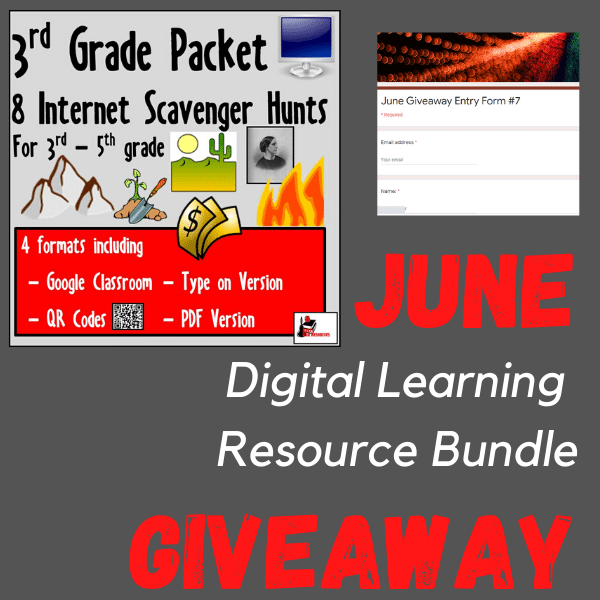 June digital learning resource bundle - win a 3rd grade internet scavenger hunt bundle - enter now with Raki's Rad Resources