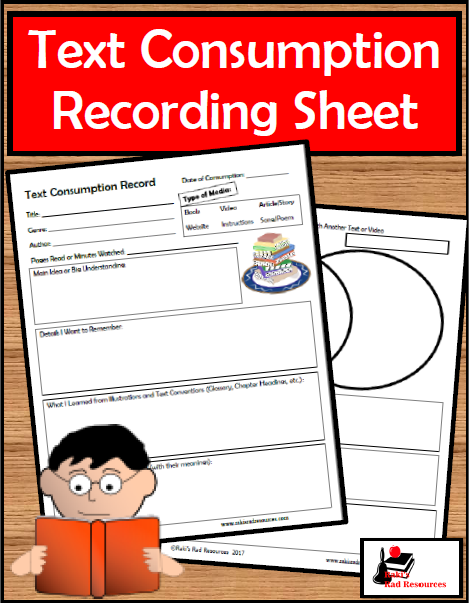 Recording the Information We Consume - Using this text consumption record sheet (free download) helps students to record the key information from the books they read and videos they watch. Students will work on all key reading strategies with a large variety of different types of media. Blog post and free resource from Raki's Rad Resources.
