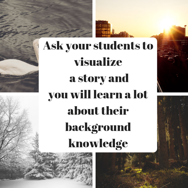 10 Ways to better know the needs of your students that go beyond beginning of the school year activities - Ask students to visualize a story they are read. The picture they develop will tell you a lot about their background knowledge.